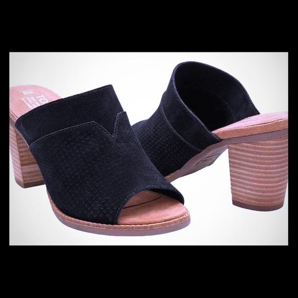 98dad6725da Toms Black Perforated Majorca Mules. M 5ac9513fd39ca2978a543f9e
